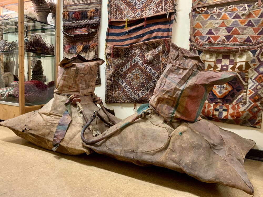 You'll never guess that these are camel bags used by the Tuareg people in Morocco.